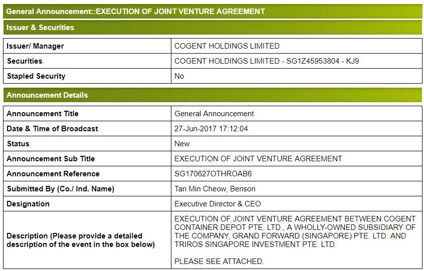General Announcement  Execution Of Joint Venture Agreement  Cogent